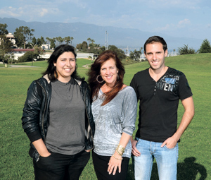 Santa Barbara City College filmmakers, from left, Gabi Guillen, screenwriter; Michelle Magers, producer; and Benjamin Goalabre, director. STEVE MALONE/NEWS-PRESS