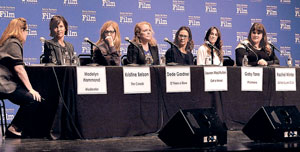 "Participating in the women's panel are, from left, Madelyn Hammond, moderator; Kristine Belson, ""The Croods""; Dede Gardner, ""12 Years a Slave""; Lauren MacMullan, ""Get a Horse!""; Gaby Tana, ""Philomena""; Rachel Winder, ""Dallas Buyers Club""; and Sara Woodhatch, ""Before Midnight."""