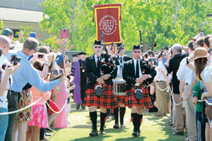 "Bagpipers lead professors and graduates onto the field Saturday morning for Westmont College""s commencement. CARMEN SMYTH/NEWS-PRESS PHOTOS"