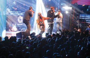 From left,Jurassic 5's Chali 2na, Akil, Zaakir and Mark 7even perform Nov. 10,2013,during Fun Fun Fun Fest in Austin, Texas.