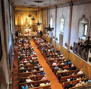 The chapel at the Santa Barbara Mission is filled Thursday for the Fiesta president's Mass, or La Misa del Presidente.