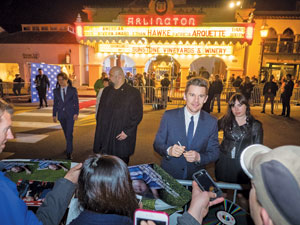 "Ethan Hawke signs autographs before the Santa Barbara International Film Festival's American Riviera Awards Tribute at the Arlington Theatre. Mr. Hawke and costar Patricia Arquette received the award for their work in ""Boyhood."""
