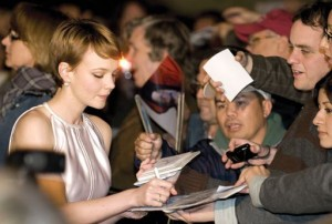 Carey Mulligan, above, Michael Stuhlbarg, above center, Emily Blunt, above right in grey, and Saiorse Ronan are shown on the red carpet on Sunday before receiving their Virtuoso Awards.