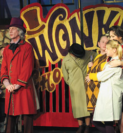 Willy Wonka (Cecil Sutton) announces a world-wide contest for a lifetime supply of chocolate. Dean Zatkowsky Photo