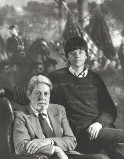 Ken Burns and writer Shelby Foote on a 'Civil War' set. Al Levine Photo