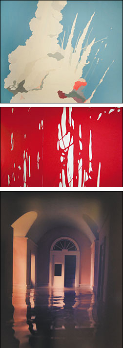 """At top, Brian Alfred's """"The Saddest Day of My Youth,"""" from the collection of Barry and Jo Berkus. At center is Arturo Herrera's """"Behind the House 1,"""" from the collection of Jacquelyn Klein-Brown. Above, James Casebere's """"Pink Hallway #3,"""" from the collection of Geof and Laura Wyatt."""