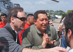 """Director Oliver Stone and Venezuelan president Hugo Chavez talk to the media in Stone's documentary """"South of the Border."""" Courtesy photo"""