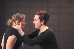 Junior Felisha Vasquez, left, and senior Jessica Drake rehearse a scene from 'Macbeth.' Brad Elliott Photos