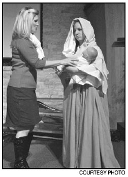 "Lara Halloway, left, plays Grace Bradley and Maaggie Langhorne plays Imogene Herdman in ""The Best Christmas Pageant Ever."""