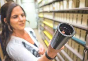 Performing arts assistant Nadine Turner shows a wax cylinder, an early form of a phonograph record, from the UCSB Library. NIK BLASKOVICH/NEWS-PRESS PHOTOS