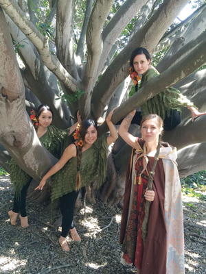 "Performing in ""The Tempest"" are, from left, Ami Shimada, Scarlett Jia and Kassidy Klinesmith as Ariel and Danielle De La O as Prospera. Gerry Hansen photo"