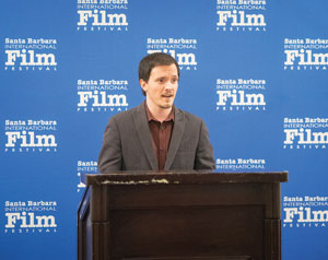 Festival programmer Mickey Duzdevich opens the 10-10-10 competition press conference to thank sponsors. This year Relativity Media's educational arm has partnered with the fest and has offered scholarships as prizes. NIK BLASKOVICH/NEWS-PRESS
