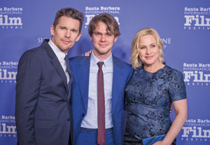 "Posing on the Arlington's red carpet are, from left, Ethan Hawke, Ellar Coltrane and Patricia Arquette, all stars of the acclaimed film ""Boyhood."""