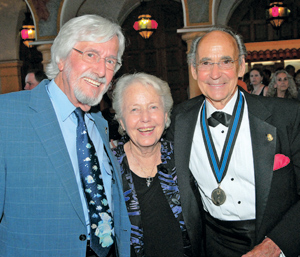 "Saturday's Santa Barbara Underwater Film Festival at the Arlington Theatre was ""A Tribute to Ernie Brooks."" Mr. Brooks, right, is joined by friends Jean-Michel Cousteau and Virginia Sloan. THOMAS KELSEY/NEWS-PRESS PHOTO"