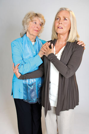 """Marion Freitag, left, and Ann Dusenberry in """"Unfinished Business."""" Rod Lathim photo"""