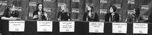Saturday's Women's Panel featured, from left, moderator Madelyn Hammond, Allison Abbate, Lucy Alibar, Marissa Paiva, Katherine Sarafian and Pilar Savone. MIKE ELIASON/NEWS-PRESS