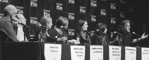 The Santa Barbara film festival's Movers & Shakers panel included, from left, moderator John Horn, Bruce Cohen, Debra Hayward, Dan Janvey, Kathleen Kennedy, Stacey Sher and David Womark. MIKE ELIASON/NEWS-PRESS